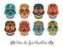 Dia de Los Muertos Jour des morts Illustration de vecteur des crânes Photographie stock