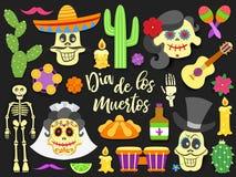 Dia de Los Muertos Jour de l'ensemble d'éléments mexicain traditionnel mort de vacances Le papier a coupé les icônes plates de st illustration libre de droits