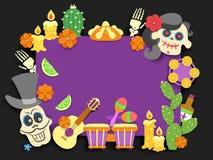 Dia de Los Muertos Jour de l'insecte mexicain traditionnel mort de vacances Décoration plate coupée de papier de style avec l'omb illustration de vecteur