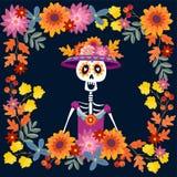 Dia De Los Muertos kartka z pozdrowieniami, zaproszenie ilustracja wektor