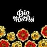 Dia de Los Muertos L'illustration et la main d'aquarelle dessinent le lettrage avec le fond et les fleurs noirs Illustration Stock