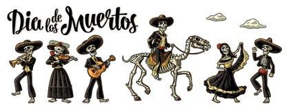Dia de Los Muertos Le squelette dans des costumes nationaux mexicains illustration libre de droits