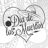 Dia de los muertos lettering. With zentangle style human skull background for the Day of the dead Stock Photos