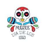 Dia De Los Muertos logo, Mexican Day of the Dead holiday poster with sugar skull and maracas, holiday party banner royalty free illustration