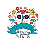 Dia De Los Muertos logo, traditional Mexican Day of the Dead design element with sugar festive skull, holiday party. Banner, poster, greeting card or invitation Royalty Free Stock Photography