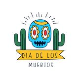 Dia De Los Muertos logo, traditional Mexican Day of the Dead design element with sugar skull and cactus, holiday party vector illustration