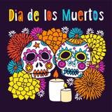 Dia De Los Muertos lub Halloweenowy kartka z pozdrowieniami, zaproszenie, z ręki rysującymi ornamentacyjnymi sculls Zdjęcia Stock