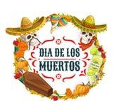 Dia de los Muertos Mexican catrina calavera fiesta. Day of Dead, Dia de los Muertos Mexican fiesta and catrina calavera skulls in sombrero. Vector Dia de los royalty free illustration