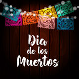 Dia de Los Muertos, Mexican Day of the Dead card, invitation. Party decoration, string of lights, handmade cut paper flags, skul Royalty Free Stock Photo