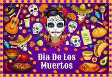 Dia de los Muertos Mexican skulls and fiesta food. Dia de los Muertos Mexican holiday party food and drinks, traditional fiesta symbols. Vector Dia de los royalty free illustration