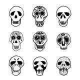 Dia de los Muertos mexican sugar skulls set Stock Image