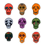 Dia de los Muertos mexican sugar skulls set Stock Photos