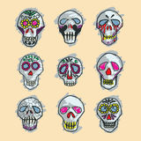 Dia de los Muertos mexican sugar skulls set Royalty Free Stock Photos