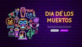 Dia de los Muertos Neon Banner Design royalty free illustration