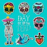 Dia de los Muertos o giorno degli autoadesivi morti Fotografia Stock Libera da Diritti