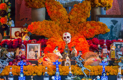 Dia de los muertos. OAXACA , MEXICO - NOV 02 : Traditional Mexican altar installation at the Dia De Los Muertos celebration in Oaxaca , Mexico on November 02 Stock Photos