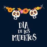 Dia de los Muertos ou carte de voeux de Halloween, invitation Jour mexicain des morts Décoration de ficelle avec des fleurs de ma Image libre de droits