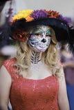 Dia de los Muertos. Participant, Day of the Dead Festival, Noche de Altares Night of Altars, Santa Ana CA stock photos