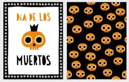 Dia De Los Muertos Sistema del ejemplo del vector de Halloween ilustración del vector