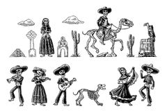Dia de los Muertos. The skeleton in Mexican national costumes. The skeleton in Mexican national costumes dance, praying, galloping on horse, play the guitar Stock Photography