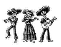 Dia de los Muertos. Skeleton in the Mexican national costumes. Day of the Dead, Dia de los Muertos. The skeleton in the Mexican national costumes dance, sing and Royalty Free Stock Photos