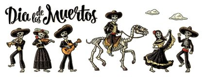 Dia de los Muertos. The skeleton in Mexican national costumes. Day of the Dead. The skeleton in Mexican national costumes dance, play the guitar, violin, trumpet Royalty Free Stock Image