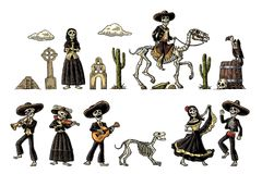 Dia de los Muertos. The skeleton in Mexican national costumes. The skeleton in Mexican national costumes dance, praying, galloping on horse, play the guitar Stock Photos