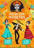 Dia de los Muertos Spanish Day of Dead party dance. Mexican Day of Dead skeletons, Dia de los Muertos party poster. Vector dead man and woman skeletons dancing vector illustration