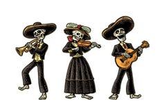 Dia de Los Muertos Squelette dans les costumes nationaux mexicains Image libre de droits