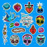 Dia de los Muertos stickers. Dia de los Muertos or Day of the Dead stickers Stock Images