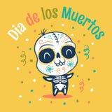 Dia de los Muertos. Vector kawaii kid in skeleton costume for Dead day. Dia de los Muertos Stock Image