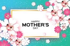 Dia de mães feliz azul Pedras brilhantes Flor de corte de papel Quadro do retângulo Fotos de Stock