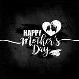 Dia de mães feliz, inscrição branca com em fundo preto da placa Projeto feminino para felicitações, inseto, cartão Imagens de Stock