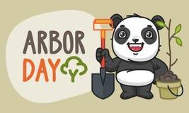 Dia de mandril Panda Character Holding Shovel e risos ilustração stock
