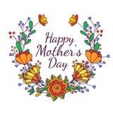 Dia de matrizes feliz Ilustração brilhante do conceito da mola com as flores no vetor Fotografia de Stock Royalty Free