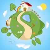 Dia de mola na terra do planeta ilustração stock