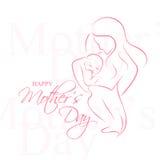 Dia de Mother - disposição elegante do vetor com mãe contornada uma silhueta da criança ilustração stock