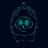 乱画在框架蓝色、万圣夜或者dia de muertos背景,传染媒介的糖头骨 库存照片