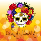 Dia de muertos card. With hand drawn scull Stock Photo