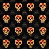 Dia de Muertos cartoon Skull Ornate Day of The Dead seamless pattern Stock Photos