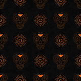 Dia de Muertos cartoon Skull Ornate Day of The Dead seamless pattern Stock Photography