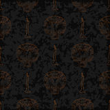Dia de Muertos cartoon Skull Ornate Day of The Dead seamless pattern Royalty Free Stock Image