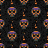 Dia de Muertos cartoon Skull Ornate Day of The Dead seamless pattern Stock Image