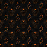 Dia de Muertos cartoon Skull Ornate Day of The Dead seamless pattern Stock Photo