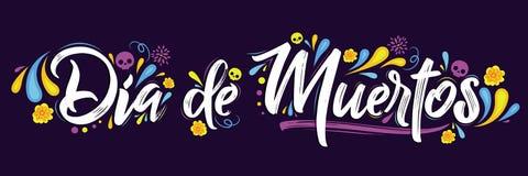 Dia de Muertos dag av den döda spanska textbokstäver stock illustrationer