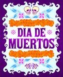 Dia de Muertos, Dag van de de doods Spaanse tekst en elementen van de bloemdecoratie vector illustratie