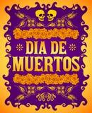 Dia de Muertos, Dag van de de doods Spaanse tekst en elementen van de bloemdecoratie royalty-vrije illustratie