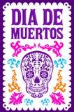 Dia de Muertos, Dag van het kleurrijke vector de decoratieontwerp van de doods Spaanse tekst vector illustratie