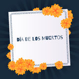 Dia de muertos Day of the dead background. With marigolds Royalty Free Stock Photos