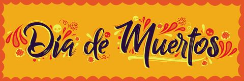 Dia de Muertos, day of the Dead spanish text lettering Stock Photo